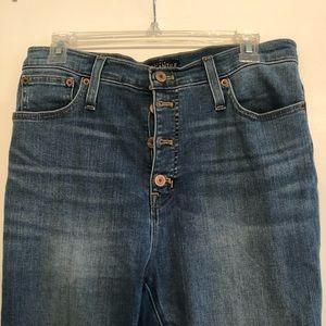 "J Crew 10"" rise raw hem skinny button fly jeans"